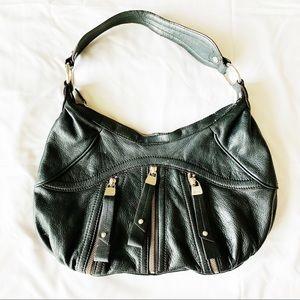 Black Leather Zipper Shoulder Purse